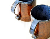 Coffee Mugs - Denim and Leather Scroll Handle 23-oz ceramic Cups (Set of 2)