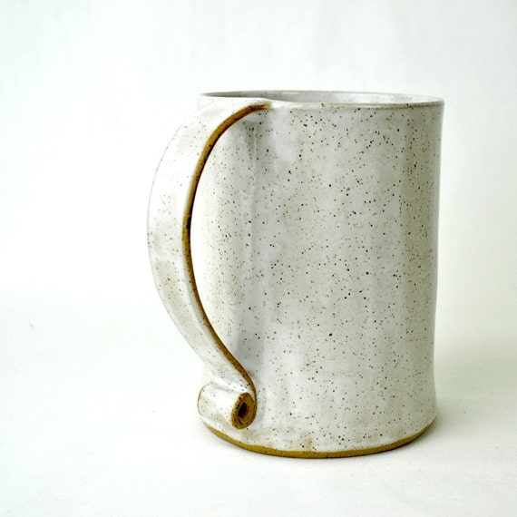 White Mug - Large ceramic coffee cup Honeybee white