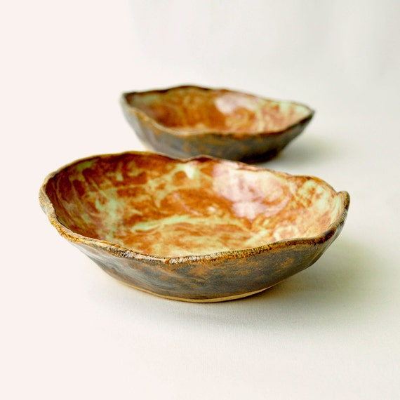 Handmade ceramic bowls - Copper Patina Wabi Sabi eclectic brown and green dishes (Set of 2)