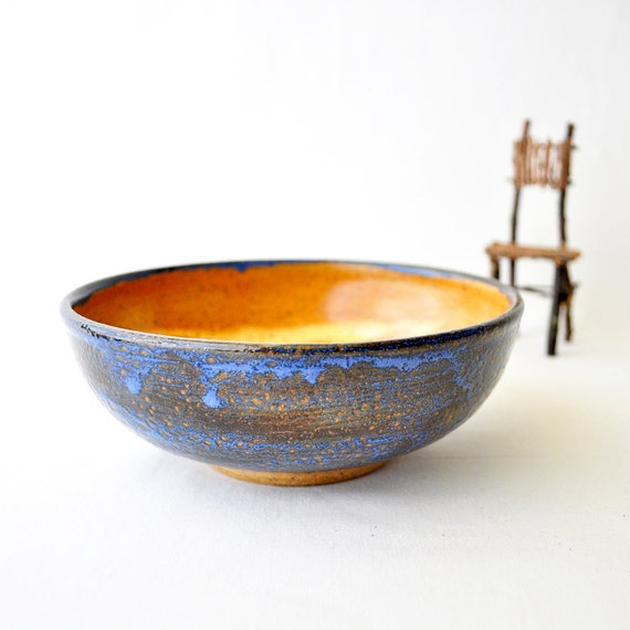 Small Pottery Serving bowl - Cinnamon and Blue exquisite wheel thrown bowl