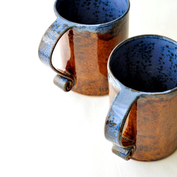 Coffee Mugs - Leather Brown and Denim Blue Cups (Set of 2) Scroll Handle 16-oz