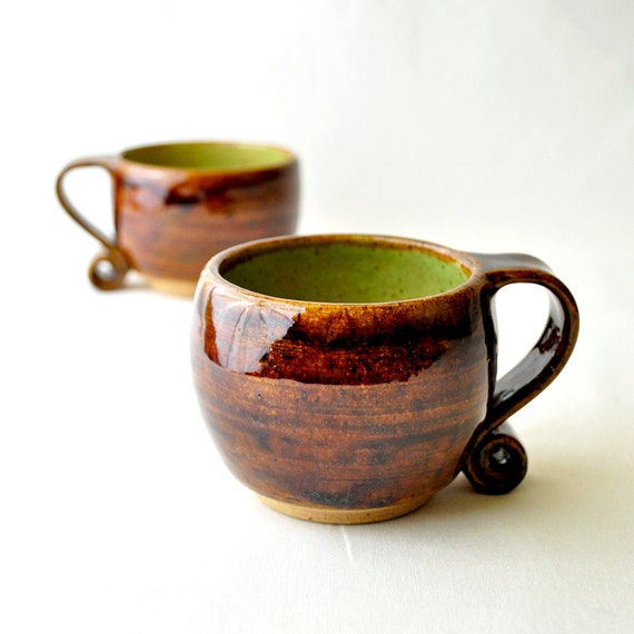 Ceramic Tea Cups - Hobbit Mugs in Green Chartreuse and Earth Brown (Set of two)