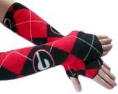 fingerless gloves argyle armwarmers handmade from GEORGIA BULLDOGS fleece