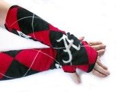 handmade argyle armwarmers fingerless gloves made with ALABAMA CRIMSON TIDE fleece