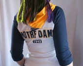 handmade NOTRE DAME FIGHTING IRISH hoodie shirt upcycled - bombshellsports