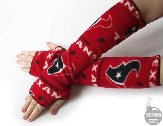 handmade fingerless gloves armwarmers made with Houston Texans fleece - bombshellsports