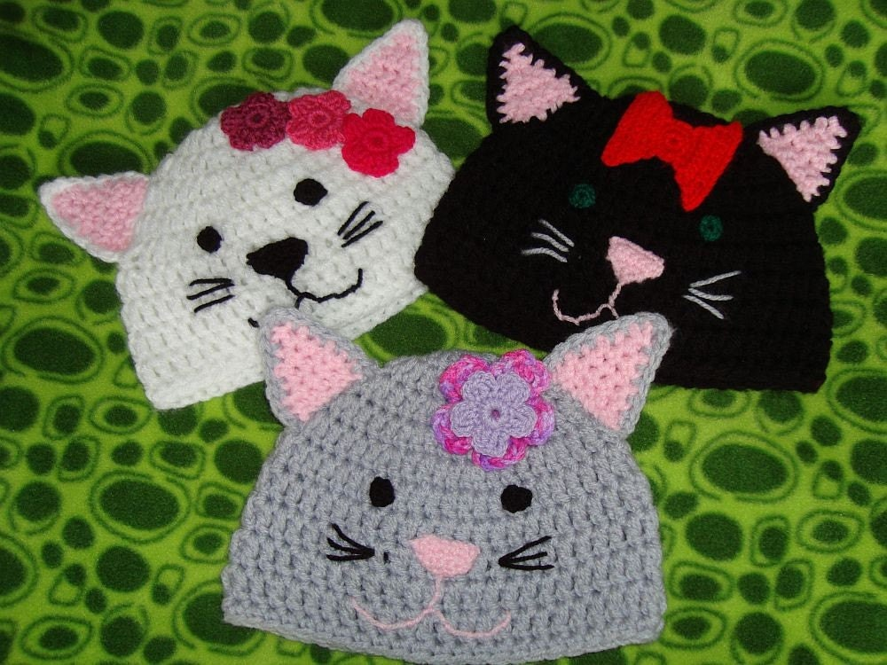 Crochet Kitty Hat Pattern : Kitty Cat Crochet Hat Pattern by woollythinking on Etsy