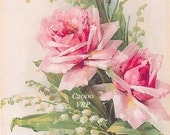 PRINT FREE SHIP Pink Roses Lily Valley C. Klein