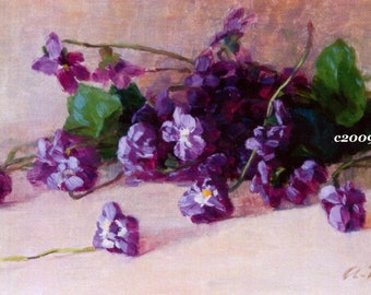 Art Print, Vintage Violets, Alice Chittenden, Half Yard Long, Shabby Chic Decor, Vintage Art