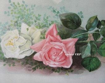 Huge Discount, Art Print, Pink Roses, CP14, Half Yard Long, Shaby Chic Decor
