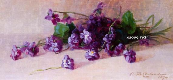 PRINT FREE SHIP Vintage Violets Alice Chittenden Violet