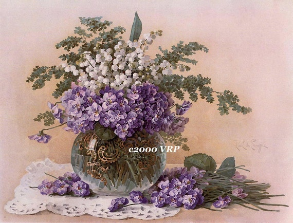 PRINT FREE SHIP  Freshly Picked French Violets and Lily of the Valley Paul de Longpre
