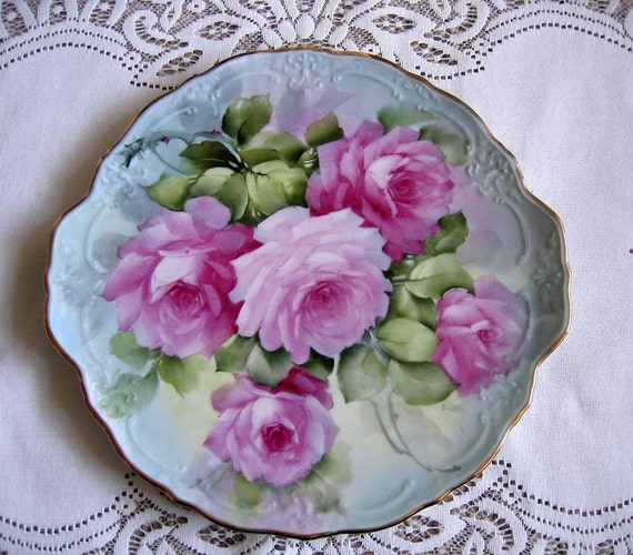 Porcelain ROSES Charger Cake Plate Signed Listed Artist Hand Painted