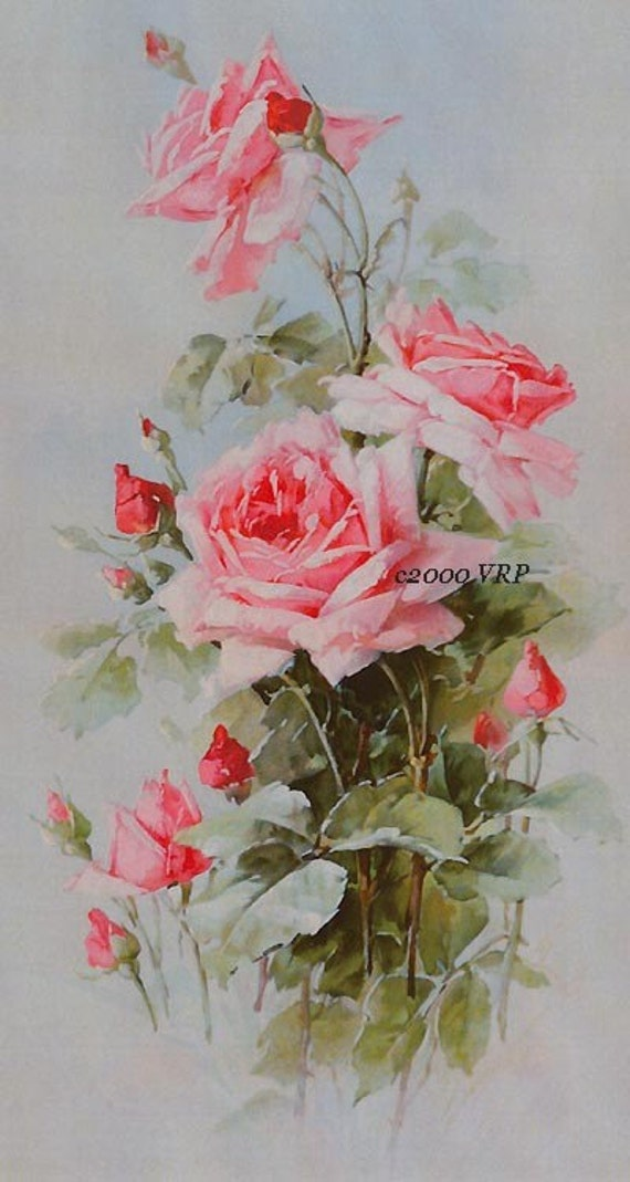 Pastel Pink Victorian Roses Rose Print C By Victorianroseprints