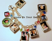 Photo Charm Bracelet, Customized with your Pictures, Link Chain with Toggle Clasp, Double-sided Charms. Art Charm  Bracelet