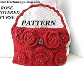 Purse patterns, handbag, CROCHET PATTERN, number 62,..... Rose covered purse     Please check out my feedback from my wonderful customers.