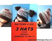 CROCHET PATTERN, Hat ,  baby, toddler, preteen, 3 styles, flat top hat, beanie, hood, Number 209