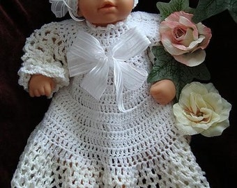 Christening outfit - Dress, Hat -CROCHET PATTERN - Baby Christening Outfit - Baby Clothing - 3 sizes newborn to 12 months, num. 227,