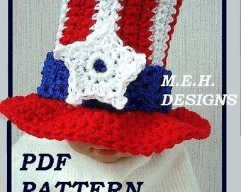 Crochet PATTERN ....UNCLE SAM Hat, num 252  newborn to age 5, Make them to sell. instant download