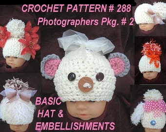 Crochet pattern hat num 288 make a basic hat, lots of CLIP ON embellishments, chart included, and photo tips