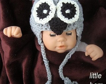 Crochet Pattern, hat Little GREY BARN OWL num. 279,   sizes newborn to 8 years,  sell your hats, instant digital download