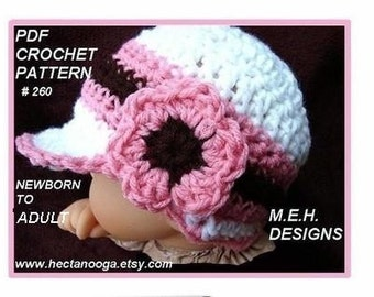 crochet pattern HAT no. 260, Pink and Brown Newsboy Visor Cap,  newborn to adult.  Permission to sell your finished hats........