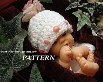 Baby Hat, Crochet Pattern, 178-A,Crochet Pattern  CUTE AS A BUTTON Hat, sizes Newborn to Adult  Beginner Level  Instant download