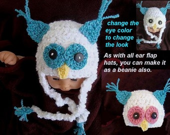 Crochet PATTERN SNOWY OWL Hat.num 360... all sizes from newborn to adult.... permission to sell your finished items.