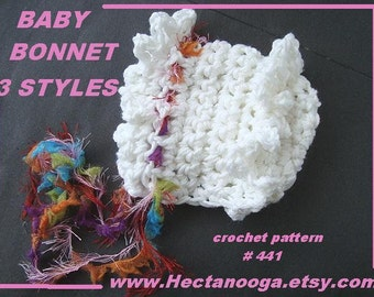 Baby Hat Crochet Pattern, Baby Bonnet, Christening bonnet, newborn to age 1, number 441, Instant digital download