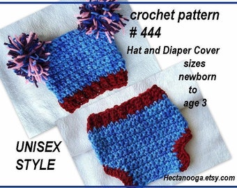 Crochet Pattern - HAT and DIAPER COVER set /  Unisex. #444