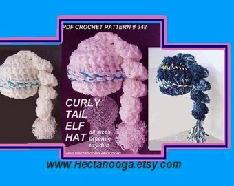 CROCHET Pattern, CURLY TAIL Elf Hat, num 348 sizes  preemie baby  to adult.. Instant Download. For a knit style, see num. 347