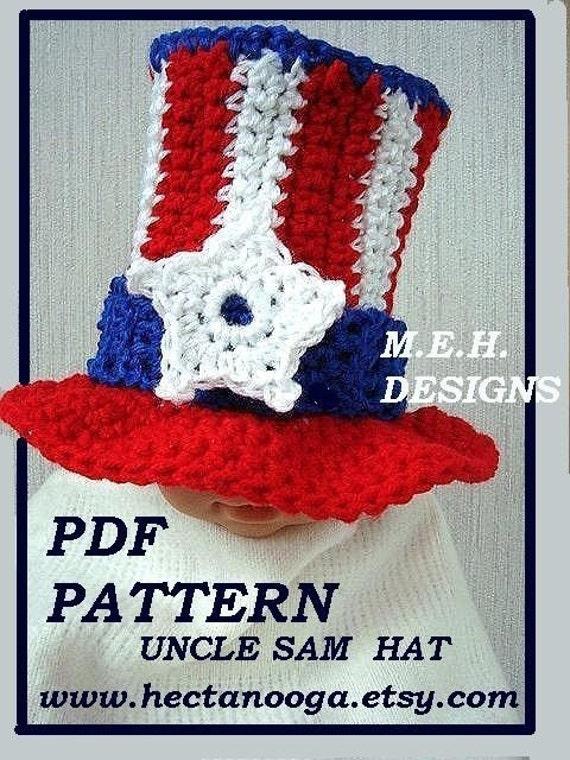 Crochet PATTERN ....UNCLE SAM Hat num 252 newborn to age 5