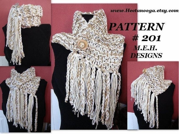 Free Crochet Pattern Fringed Cowl : Scarf Pattern Knitting num 201 JUMBO FRINGED COWL Beginners.