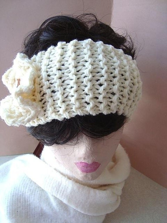 Headband KNITTING pattern,   num. 336, Easy BEGINNER knitted headband, and flower ... wear  on neck also...