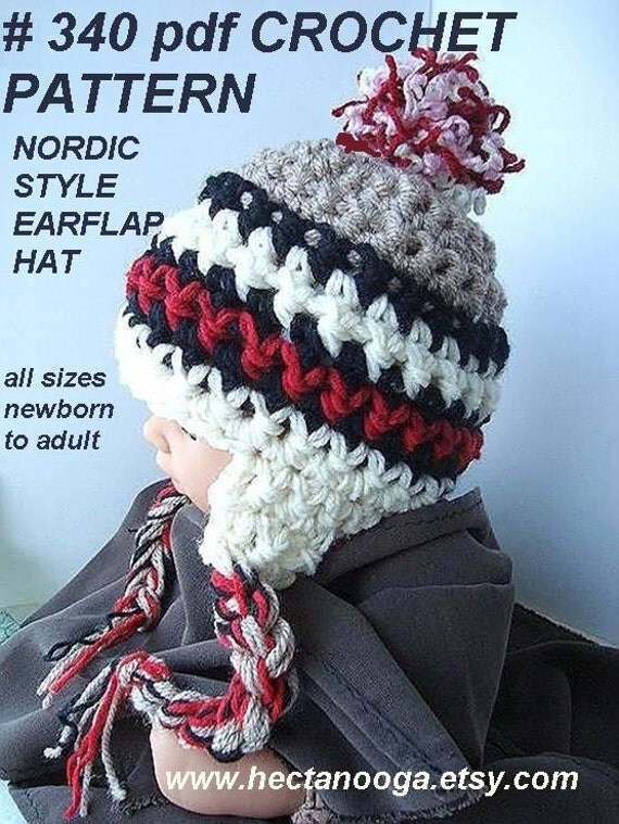 Crochet Pattern ear flap hat num 340.. NORDIC STYLE Earflap Hat..... All sizes: NEWBORN to Adult.... permission to sell your finished items.