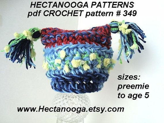 349, CROCHET pattern, Funky TASSEL HAT... Preemie to age 5, Permission to sell your finished items