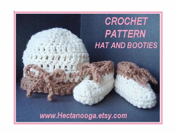 Unisex Baby Booties Free Crochet Pattern : CROCHET PATTERN num 69 hat booties Unisex Baby Beanie and