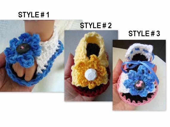 Baby booties baby sandals  Booties Pattern, Crochet Patterns,  pdf  num 450 instant download. 3 STYLES INCLUDED in the pattern,