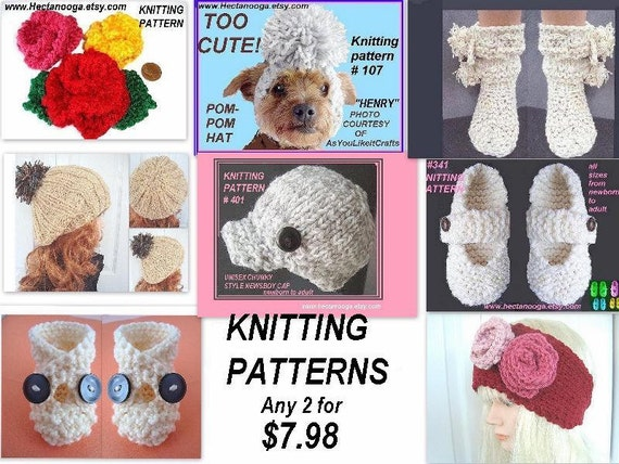 Knitting Patterns special, hats, slippers, booties, flower appliques, diaper covers, caps, baby sweater