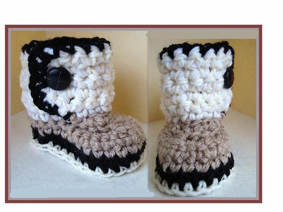 Baby Booties Crochet Pattern, num. 454, sizes newborn to age 2, handmade patterns, instant digital downloads