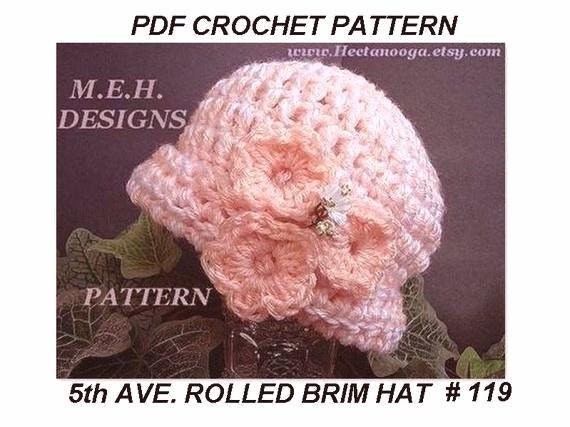 CROCHET HAT PATTERN, women,  Rolled Brim hat.  Baby, Children, Adult sizes  .num. 119,.30 minute project, fast and easy...