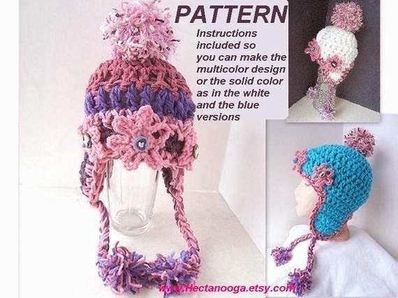 Crochet PATTERN hat num.362.newborn to adult. Earflap Hat.make it any size, sell your finished hats, instant digital download