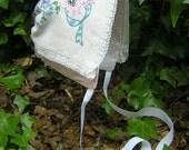 Prissy Pink Springtime Bonnet with vintage embroidered overlay