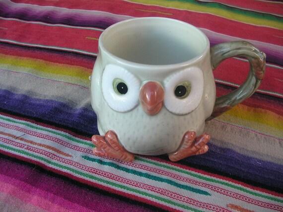 Vintage Hand Painted Owl  Mug 1970