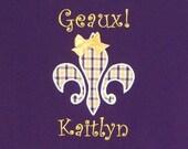 Geaux LSU!  Tigers Fleur de Lis Shirt Personalized for Girls