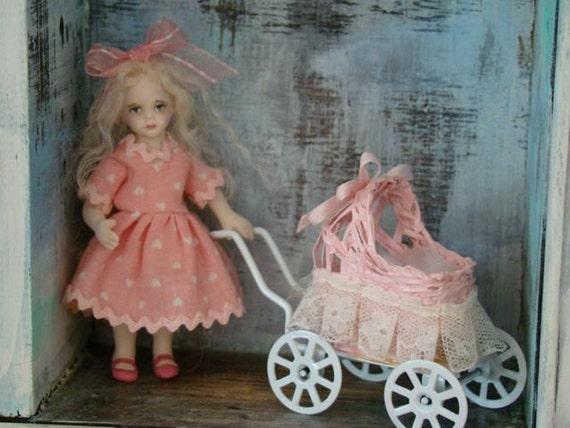 "Pink Lisa - mini dollhouse doll 1"" scale - porcelain OOAK miniature by Marina"