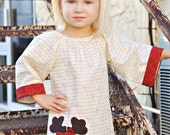 Girl's Christmas Dress with Reindeer Applique Size M