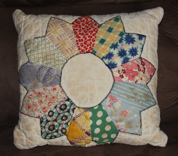 Re-Purposed  Quilted Pillow Folk Art  Made From Vintage Antique Quilt  Re-Purposed