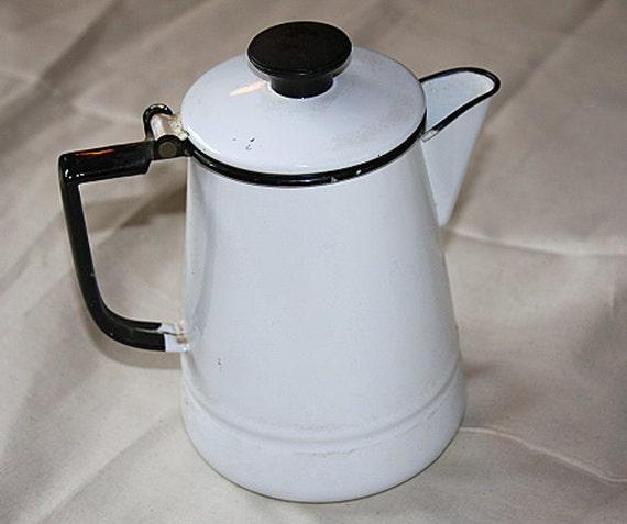 "White Enamel Coffee Pot  Vintage Antique 9"" Coffee Pot"