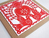 Valentine Card - Heart and Doves - Gocco Screen Printed